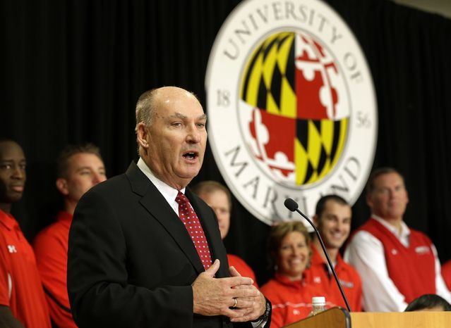 Big Ten Commissioner James Delany speaks at a news conference to announce the University of Maryland's decision to move to the Big Ten in College Park, Md., Monday, Nov. 19, 2012. Maryland is joining the Big Ten, leaving the At