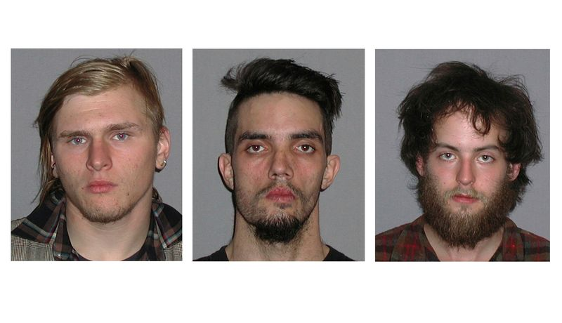 **FILE** This combo image made of undated photos provided by the FBI shows (from left) Brandon Baxter, Douglas Wright and Connor Stevens. The three men pleaded guilty in an unsuccessful plot to bomb a highway bridge in Ohio. (Associated Press/FBI)