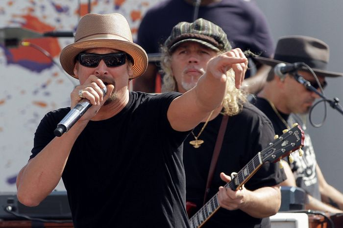 **FILE** Kid Rock performs during a concert before the NASCAR Sprint Cup Series championship race at Homestead-Miami Speedway in Homestead, Fla., on Nov. 18, 2012. (Associated Press)