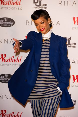 Rihanna is seen here Nov. 19, 2012, at the Westfield shopping center in the Stratford district of London for the switching on of the Christmas lights. (Ki Price/Invision/Associated Press)