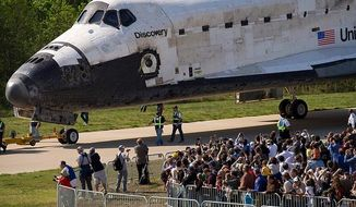 Shuttle Discovery's official welcome