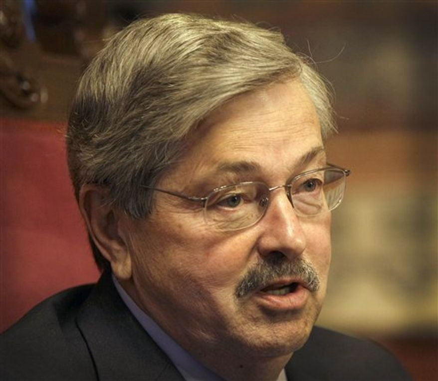 **FILE** Iowa Gov. Terry Branstad speaks May 11, 2011, during an interview with The Associated Press in Des Moines, Iowa. (Associated Press)