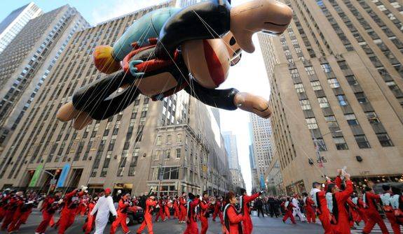 IMAGE DISTRIBUTED FOR SABAN BRANDS - Paul Frank's Julius soars through the streets of New York at the Macy's Thanksgiving Day Parade, Thursday Nov. 22, 2012. †(Photo by Diane Bondareff/Invision for Saban Bramds/AP Images)