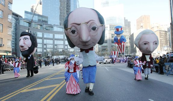 Costumed parade participants march in the 86th Annual Macy's Thanksgiving Day Parade Thursday Nov. 22, 2012, in New York. The annual Macy's Thanksgiving Day Parade put a festive mood in the air in a city still coping with the aftermath of Superstorm Sandy.  (AP Photo/Tina Fineberg)