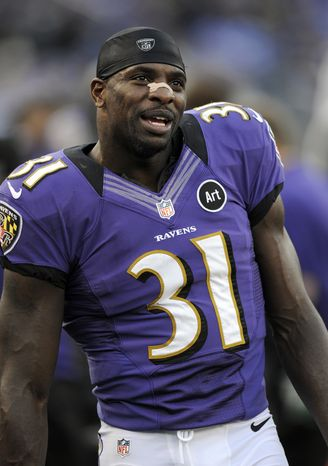 Baltimore Ravens strong safety Bernard Pollard stands on the sideline during an NFL football game against the Oakland Raiders in Baltimore, Sunday, Nov. 11, 2012. (AP Photo/Nick Wass)