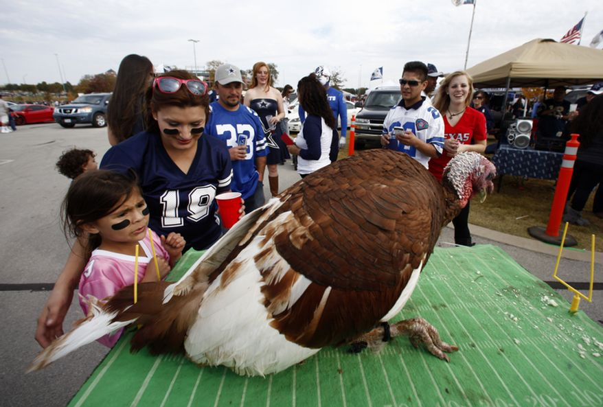 A pair of Dallas Cowboys fans reach out to touch a live turkey by a tail gate party before an NFL football game against the Washington Redskins Thursday, Nov. 22, 2012 in Arlington, Texas. (AP Photo/Tim Sharp)