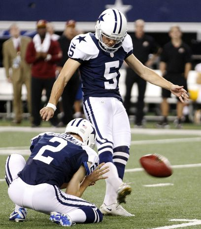 Dallas Cowboys' Brian Moorman (2) holds as kicker Dan Bailey (5) makes a field goal late in the second half of an NFL football game against the Washington Redskins, Thursday, Nov. 22, 2012, in Arlington, Texas. The Redskins won 38-31. (AP Photo/Tim Sharp)