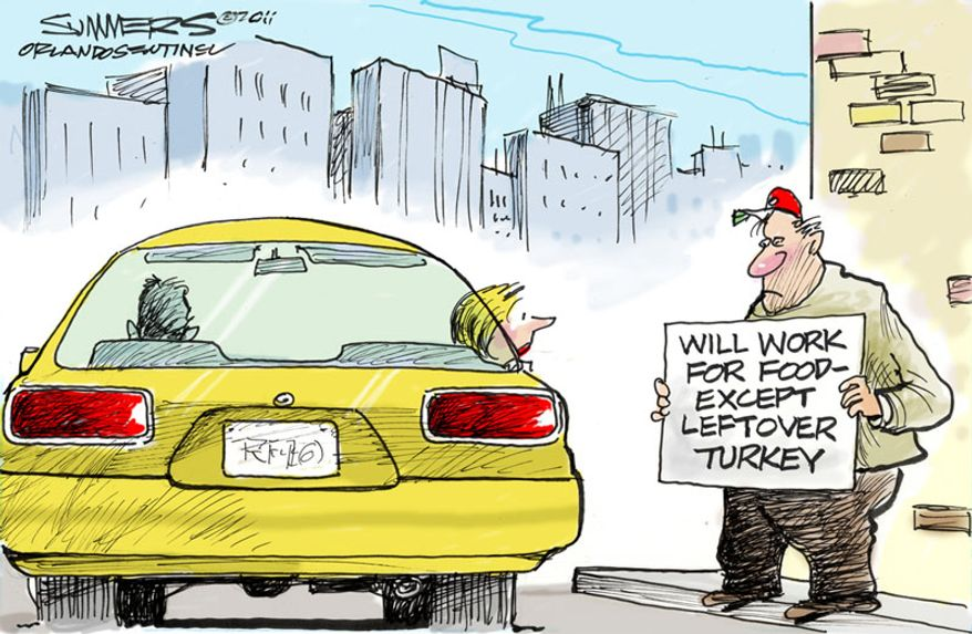 Will work for food ... (Illustration by Dana Summers for the Orlando Sentinel)