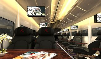 "This undated artistic rendering provided by Las Vegas Railway Express shows the interior of the X Train, a proposed luxury ""party train"" that would run from Fullerton, Calif., to downtown Las Vegas. For $99 each way, passengers would get food, drinks, access to two on-board ""ultra lounges"" and other amenities. (Associated Press/Las Vegas Railway Express)"