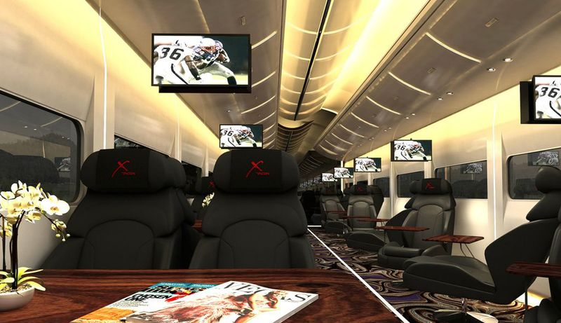 """This undated artistic rendering provided by Las Vegas Railway Express shows the interior of the X Train, a proposed luxury """"party train"""" that would run from Fullerton, Calif., to downtown Las Vegas. For $99 each way, passengers would get food, drinks, access to two on-board """"ultra lounges"""" and other amenities. (Associated Press/Las Vegas Railway Express)"""