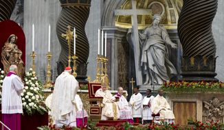 "Pope Benedict XVI (seated at center) listens as newly elevated Cardinal James Michael Harvey (second from left) of the United States delivers his speech during a Mass celebrated for the six new ""princes"" of the church in St. Peter's Basilica at the Vatican on Sunday, Nov. 25, 2012. (AP Photo/Andrew Medichini)"