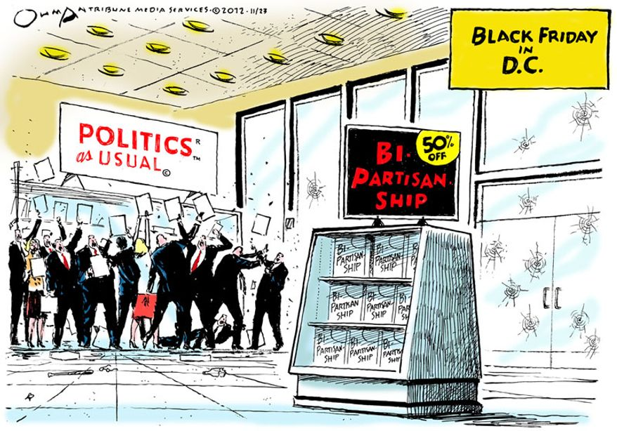 Black Friday in D.C.  (Illustration by Jack Ohman of the Tribune Media Services)