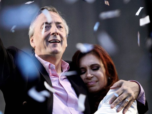 Nestor Kirchner and Cristina Fernandez de Kirchner were married for 35 years before his death after a heart attack in 2010. (Associated Press)