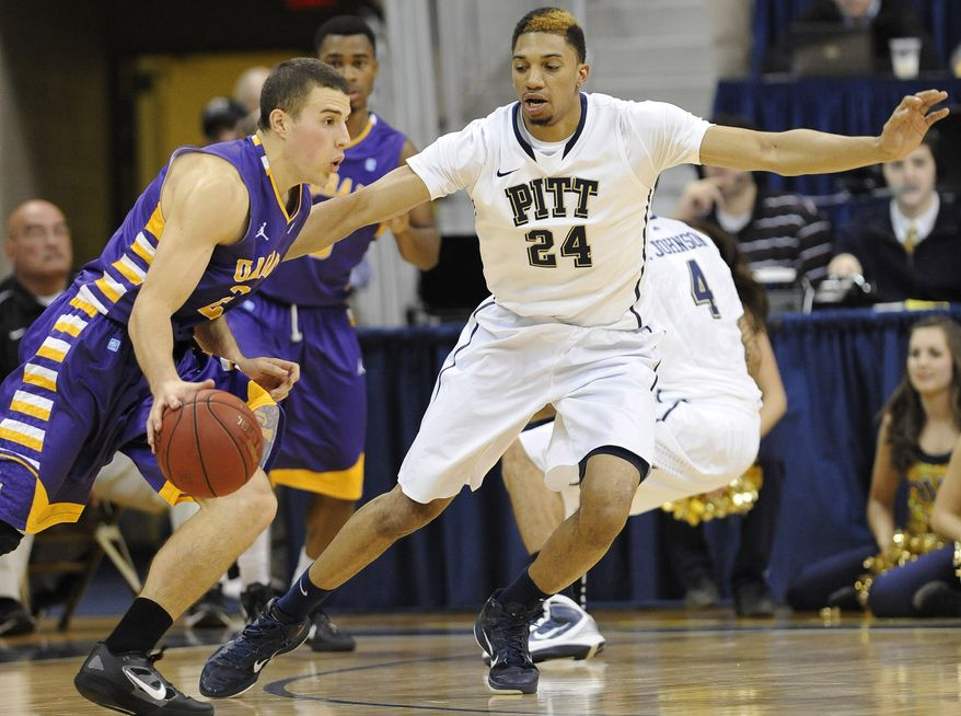 Maryland transfer Logan Aronhalt (shown with Albany) has diversified the offense off the bench with his perimeter-shooting ability. (AP Photo/Don Wright)
