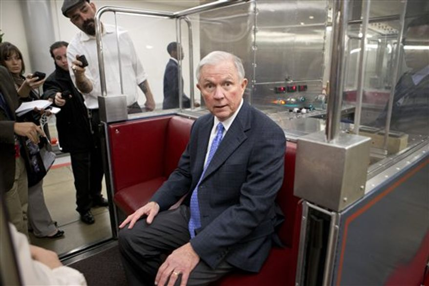 Sen. Jeff Sessions, Alabama Republican, the ranking member of the Senate Budget Committee, speaks with reporters as he boards a tram at the Capitol in Washington, Tuesday, Nov. 13, 2012. (Associated Press)