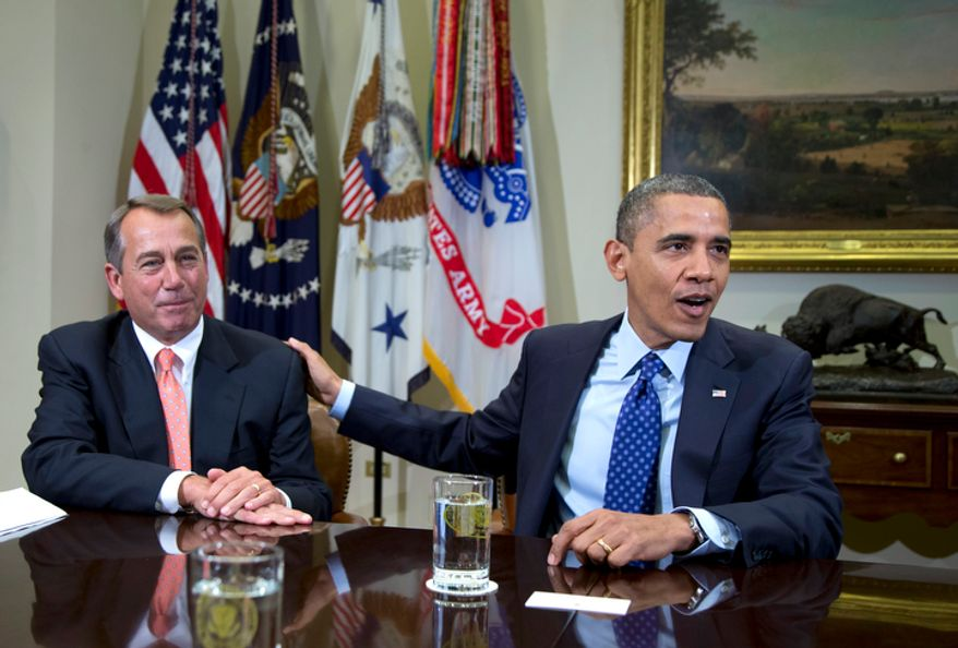 "In this Nov. 16, 2012, photo, President Obama acknowledges House Speaker John A. Boehner, Ohio Republican, while speaking to reporters in the Roosevelt Room of the White House in Washington, as he hosted a meeting of the bipartisan, bicameral leadership of Congress to discuss the deficit and economy. A big coalition of business groups says there must be give-and-take in the negotiations to avoid the ""fiscal cliff"" of massive tax increases and spending cuts. But the coalition also says raising tax rates is out of the question. The group doesn't care that Mr. Obama campaigned to raise tax rates on the rich. The same song is sung by groups representing retirees, colleges and countless others. (AP Photo/Carolyn Kaster)"