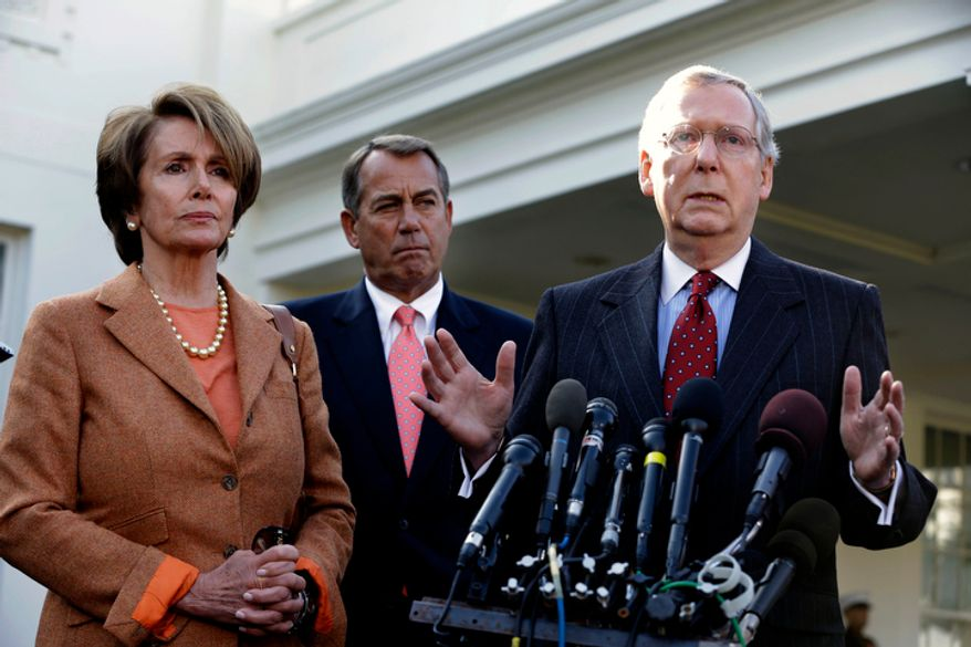 Senate Minority Leader Mitch McConnell (right), Kentucky Republican, accompanied by House Minority Leader Nancy Pelosi (left), California Democrat, and House Speaker John A. Boehner, Ohio Republican, gestures as he speaks to reporters outside the White House in Washington on Friday, Nov. 16, 2012, following their meeting with President Obama to discuss the economy and the deficit. (AP Photo/Jacquelyn Martin)