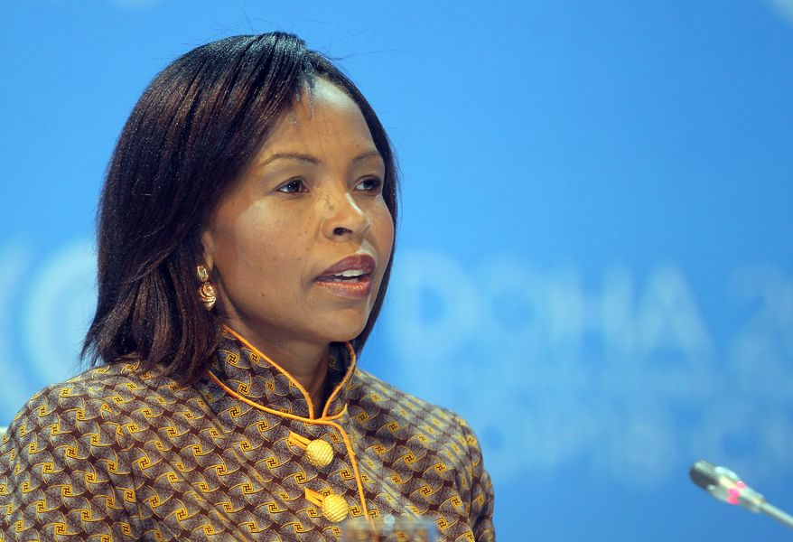South African Foreign Minister Maite Nkoana-Mashabane speaks at the opening session of the U.N. Climate Change conference in Doha, Qatar, on Monday, Nov. 26, 2012. (AP Photo/Osama Faisal)