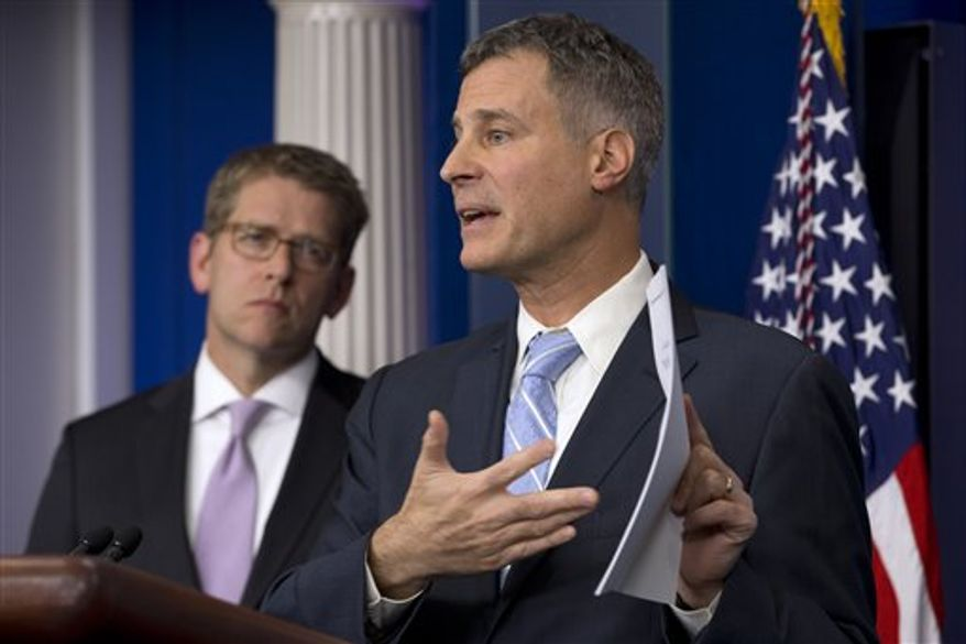 White House Council of Economic Advisers Chairman Alan Krueger, right, accompanied by White House Press Secretary Jay Carney, speaks to the media about middle class tax cuts and spending, Monday, Nov. 26, 2012, during the daily news briefing at the White House in Washington. (AP Photo/Jacquelyn Martin)