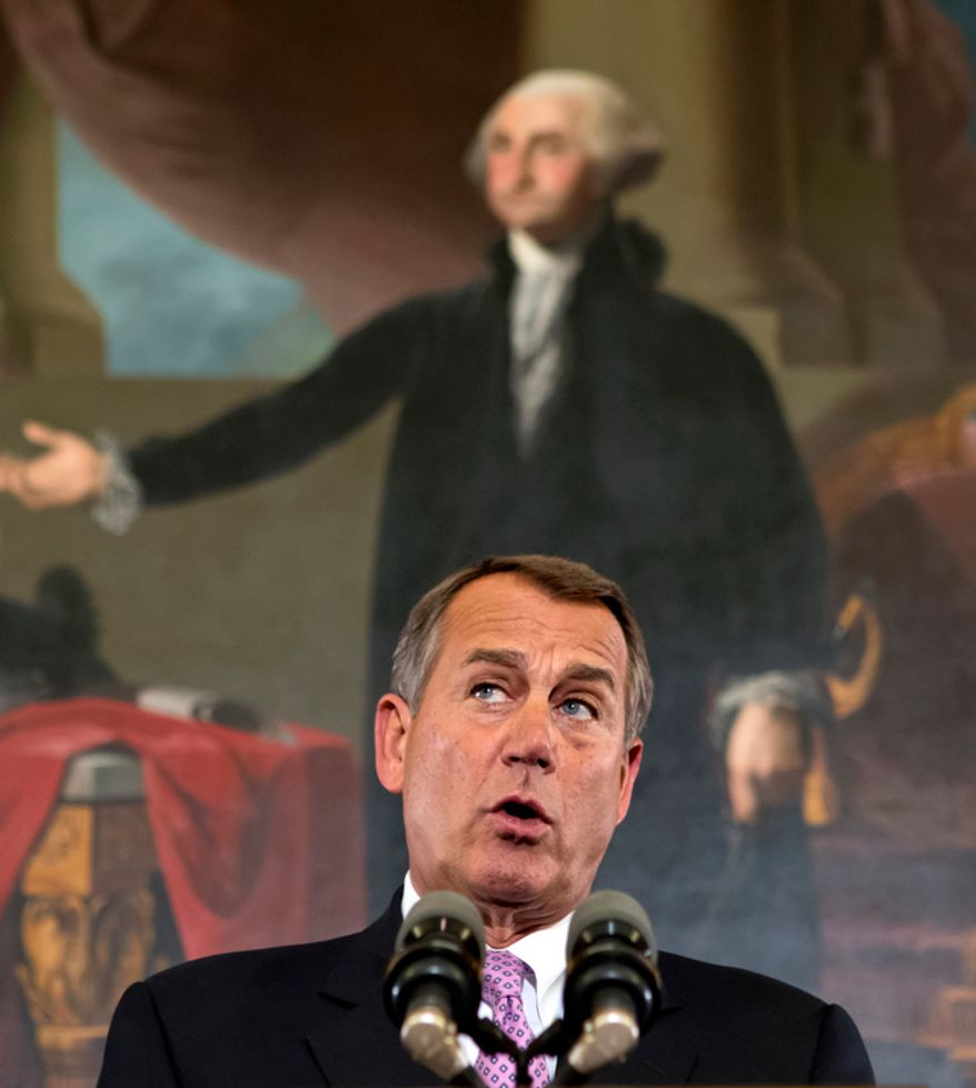 """Speaker of the House John Boehner, R-Ohio, talks about the elections and the unfinished business of Congress, at the Capitol in Washington, Wednesday, Nov. 7, 2012. The first post-election test of wills could start next week when Congress returns from its election recess to deal with unfinished business ó including a looming """"fiscal cliff"""" of $400 billion in higher taxes and $100 billion in automatic cuts in military and domestic spending to take effect in January if Congress doesn't head them off. Economists warn that the combination could plunge the nation back into a recession. (AP Photo/J. Scott Applewhite)"""