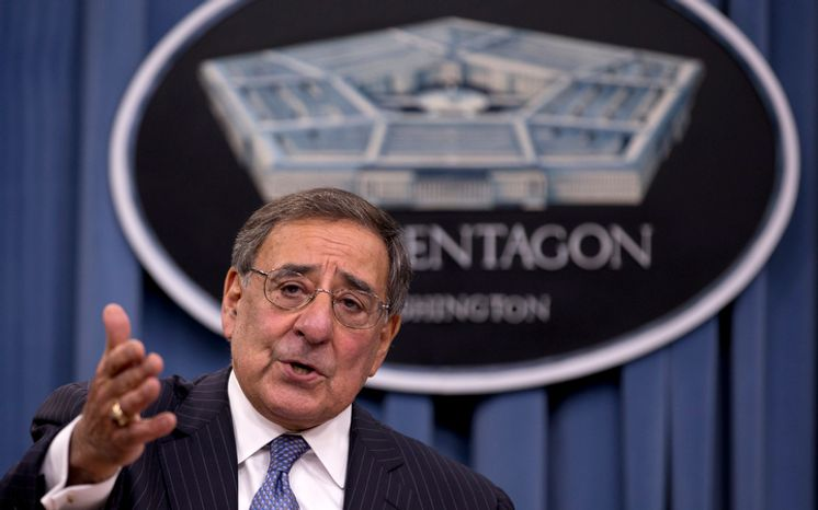 In this Oct. 25, 2012, file photo, Defense Secretary Leon Panetta speaks during a news conference with Joint Chiefs Chairman Gen. Martin Dempsey, not seen, at the Pentagon, in Washington. President Barack Obama and Congress have just a few weeks to figure out how to avert the automatic cuts to defense and domestic programs totaling $110 billion next year. Those reductions are part of the so-