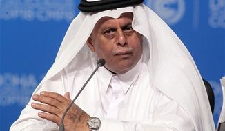 Qatar's Deputy Prime Minister Abdullah bin Hamad Al-Attiyah speaks at the opening session of the United Nations Climate Change conference in Doha, Qatar, Monday, Nov. 26, 2012. (AP Photo/Osama Faisal)