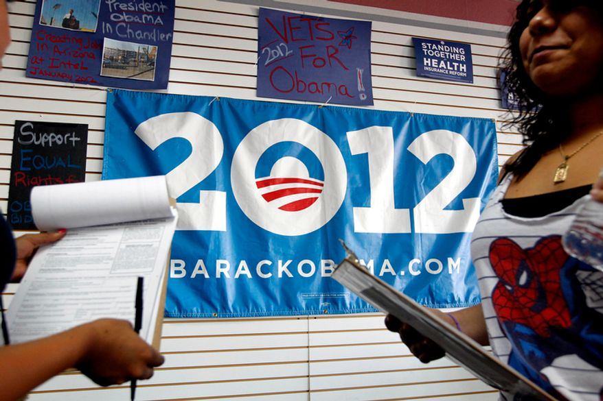 Volunteers for President Obama's re-election campaign are briefed before they head out to register new voters in a heavily Latino neighborhood on Friday, June 29, 2012, in Phoenix. Across the country both political parties have been courting the Latino vote, the nation's fastest-growing minority group. (AP Photo/Ross D. Franklin)