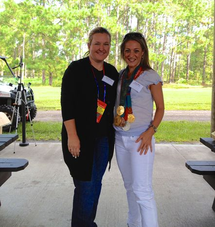 Five-time Olympian medal winner in shooting Kim Rhode with TWT's Emily Miller.