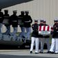 **FILE** Carry teams move flag-draped transfer cases of the remains of the four Americans killed in Benghazi, Libya, from a transport plane during the Transfer of Remains ceremony on Sept. 14, 2012, at Andrews Air Force Base in suburban Washington. (Associated Press)