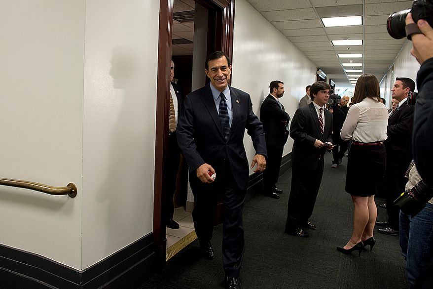 Rep. Darrell Issa (R-Calif.) leaves a meeting room in the U.S. Capitol where he and other Republican leadership members met Wednesday, Nov. 28, 2012 to discuss the fiscal cliff. (Barbara L. Salisbury/The Washington Times)