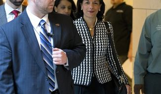 U.N. Ambassador Susan Rice arrives for a meeting on Capitol Hill in Washington Wednesday, Nov. 28, 2012, with Sen. Susan Collins, R-Maine and Sen. Corker, R-Tenn., to discuss the Benghazi terrorist attack. (AP Photo/ Evan Vucci)