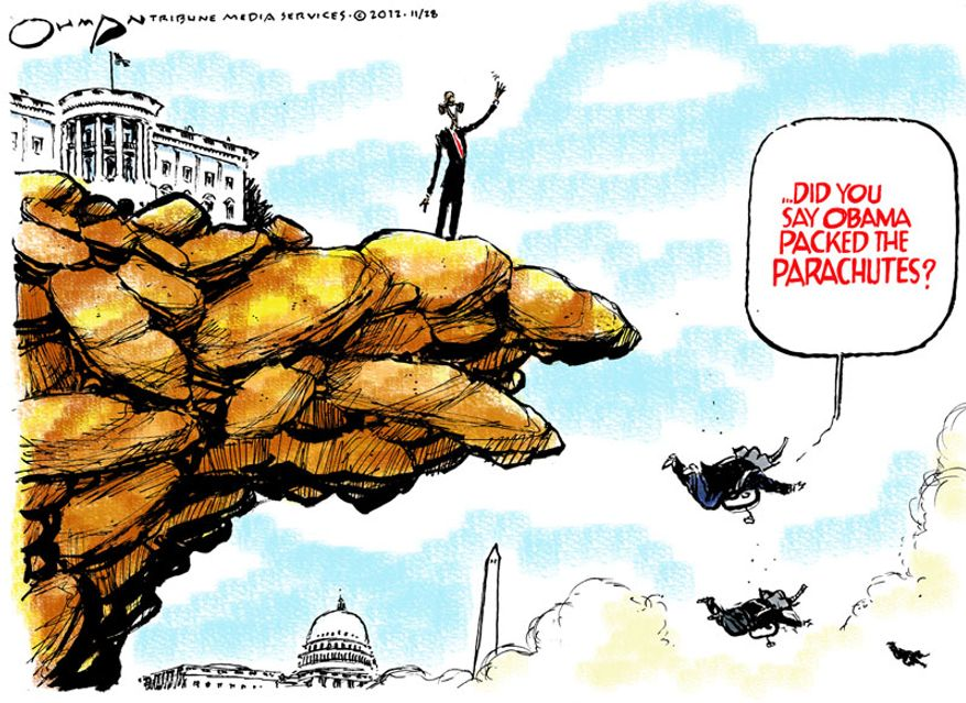 Did you say Obama packed the parachutes? (Illustration by Jack Ohman of the Tribune Media Services)