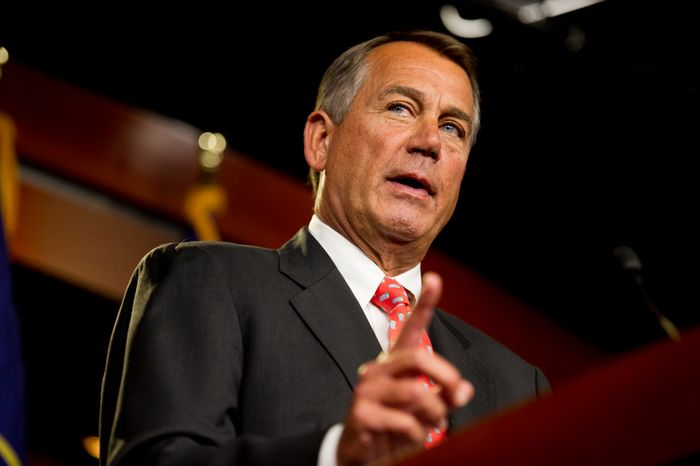 House Speaker John A. Boehner, Ohio Republican, speaks about the looming financial crisis to reporters at the House Visitors Center at the U.S. Capitol in Washington on Thursday, Nov. 29, 2012. (Andrew Harnik/The Washington Times)