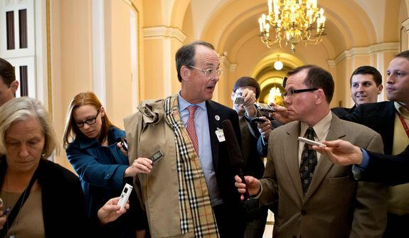 Former White House Chief of Staff Erskine Bowles, co-chair of the National Commission on Fiscal Responsibility and Reform, is pursued by reporters on Capitol Hill in Washington on Wednesday, Nov. 28, 2012, following a closed-door meeting with House Speaker John A. Boehner, Ohio Republican. (AP Photo/J. Scott Applewhite)
