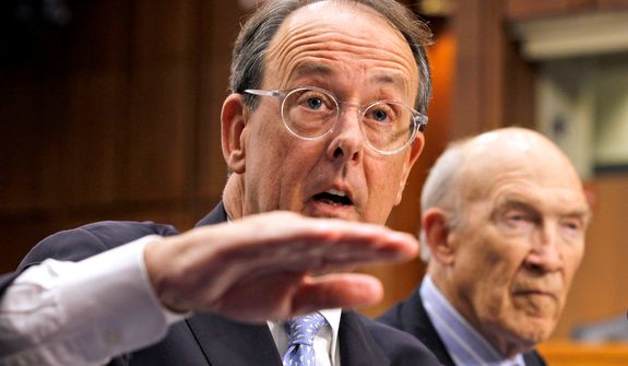 Debt commission co-chairmen Erskine Bowles (left) and former Sen. Alan K. Simpson speak to the media after a meeting of the panel on Capitol Hill in Washington on Wednesday, Dec. 1, 2010. (AP Photo/Alex Brandon)