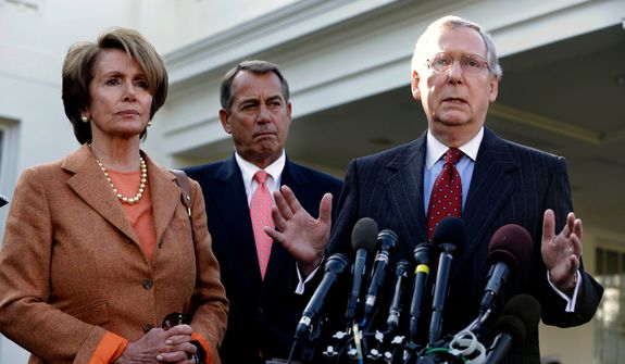 Senate Minority Leader Mitch McConnell (right), accompanied by House Minority Leader Nancy Pelosi (left) and House Speaker John A. Boehner, gestures as he speaks to reporters outside the White House in Washington on Friday, Nov. 16, 2012. (AP Photo/Jacquelyn Martin)