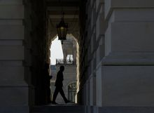 """Treasury Secretary Timothy F. Geithner enters the U.S. Capitol in Washington on Thursday, Nov. 29, 2012. Mr. Geithner is meeting with House and Senate leaders to discuss the looming """"fiscal cliff."""" (Barbara L. Salisbury/The Washington Times)"""
