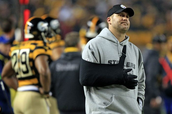 Pittsburgh Steelers quarterback Ben Roethlisberger looks up at the video board as he stands on the sidelines wearing a sling on his injured arm during the second quarter of an NFL football game against the Baltimore Ravens, Sunday, Nov. 18, 2012, in Pittsburgh. (AP Photo/Gene J. Puskar)