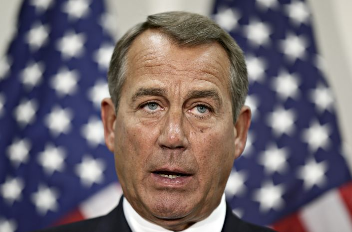 House Speaker John A. Boehner, Ohio Republican, speaks during a news conference on Capitol Hill in Washington on Wednesday, Nov. 28, 2012. (AP Photo/J. Scott Applewhite)