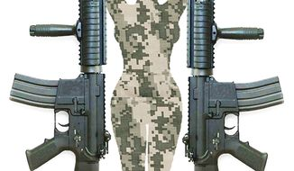 Illustration: Women in combat by Alexander Hunter for The Washington Times