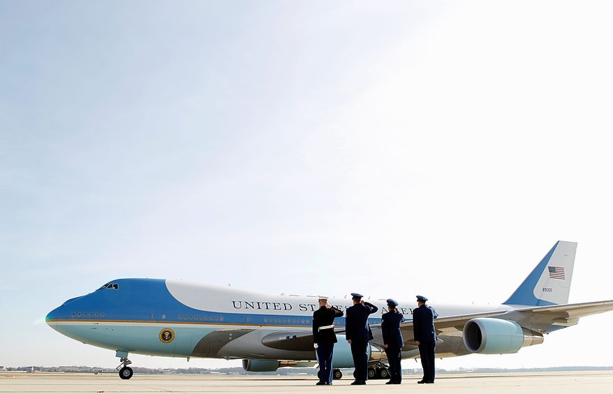 ** FILE ** Air Force One, with President Obama aboard, departs from Andrews Air Force Base outside Washington on Friday, Nov. 30, 2012, en route to the K'NEX construction toy company in Hatfield, Pa. (AP Photo/Jose Luis Magana)