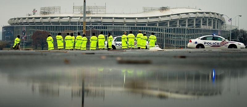 Washington, D.C. Metropolitan Police officers train new recruits in safe driving techniques on a wet and rainy day in the RFK Stadium Parking lot, Washington, D.C., Tuesday, November 27, 2012. (Andrew Harnik/The Washington Times)