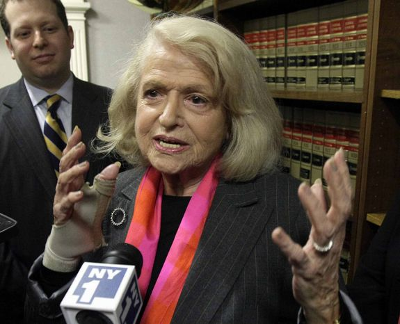 ** FILE ** This Oct. 18, 2012, file photo shows Edith Windsor interviewed at the offices of the New York Civil Liberties Union, in New York. The fight over gay marriage is shifting from the ballot box to the Supreme Court. Three weeks after voters in three states backed it, the justices meet Friday to decide whether they should deal sooner rather than later with the idea that the Constitution gives people the right to marry regardless of a couple's sexual orientation. (AP Photo/Richard Drew, File)