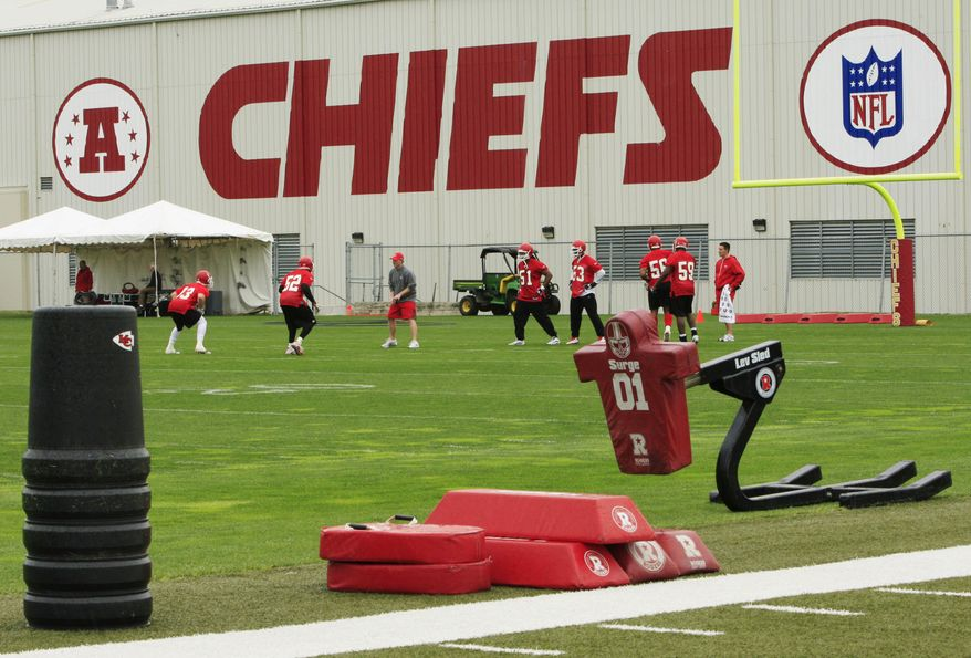 ** FILE ** In this Wednesday, May 19, 2010, photo, Kansas City Chiefs football players work out during an NFL football mini camp at the team's practice facility in Kansas City, Mo. Police say a 25-year-old Kansas City Chiefs player was involved in two shootings Saturday, Dec. 1, 2012, one of which occurred in the parking lot near Arrowhead Stadium. (AP Photo/Orlin Wagner)