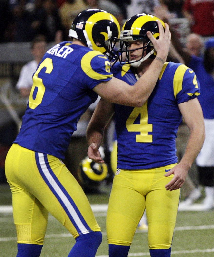 St. Louis Rams kicker Greg Zuerlein, right, is congratulated by Johnny Hekker after making a 54-yard field goal to defeat the San Francisco 49ers 16-13 in overtime of an NFL football game, Sunday, Dec. 2, 2012, in St. Louis. (AP Photo/Tom Gannam)