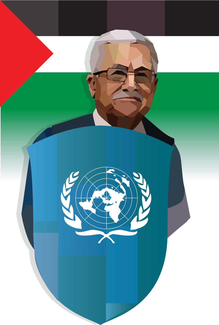 Illustration Mahmoud Abbas by Linas Garsys for The Washington Times