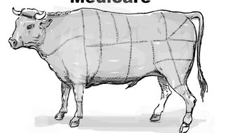 Illustration Welfare Cows by John Camejo for The Washington Times