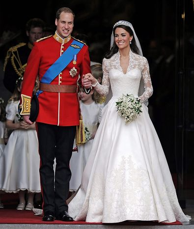 **FILE** Britain's Prince William and his bride Kate, Duchess of Cambridge, leave Westminster Abbey in London on April 29, 2011, following their wedding. (Associated Press)