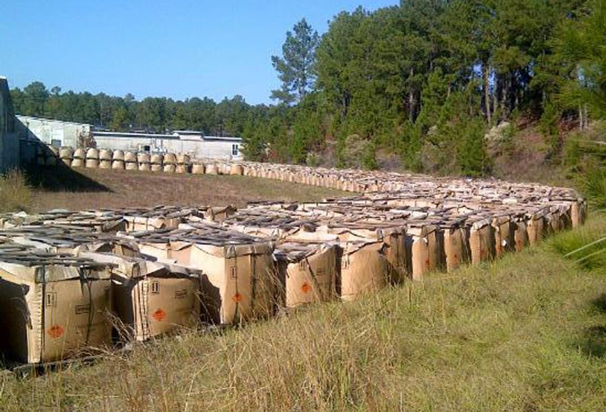 Piles of explosive powder improperly stored at the Camp Minden industrial site in rural Louisiana are pictured on Tuesday, Nov. 27, 2012. (AP Photo/Louisiana State Police)
