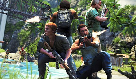 Up to four players take part in a frenetic cooperative campaign in the video game Far Cry 3.